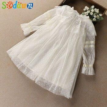 Sodawn 2019 nowa wiosna ubrania dla dzieci dziewczyny księżniczka styl koronki sukienka dla dzieci ubrania dla dzieci słodkie księżniczka sukienka moda sukienka