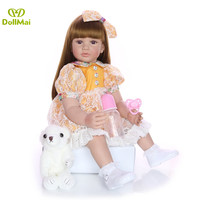 60cm Big Size Reborn Toddler Doll Toy Lifelike Vinyl Princess Baby With bear Cloth Body Alive Bebe Girl Birthday Gift