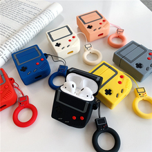 Silicone Gameboy Case For Apple Earphones Airpods 1/AirPods 2 Earbuds Earphone Charging Protector Cover With Keychain Cute
