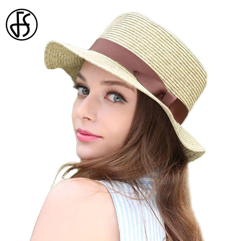 FS Summer Elegant Raffia Straw Hats Bowler Hat Pink Wide Brim Sun Visor Cap  Vintage Hepburn Wind Beach Sombreros For Women 5071e0e95732