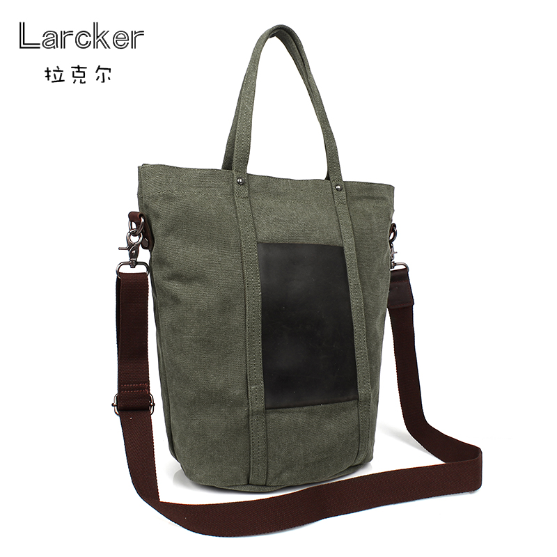 Classic casual canvas men tote bag cowhide leather front patchwork freestyle men crossbody casual bag casual canvas satchel men sling bag
