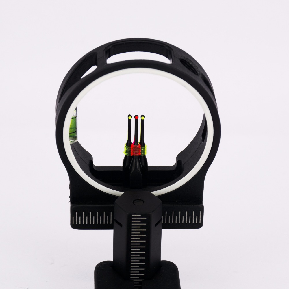 Fiber 3 Pin Bow Sight Aluminum Machined Brass Pin Right and Left Handed