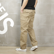 Loose Khaki Cargo Pants, Men Casual Elastic Waist Military Cargo Pants