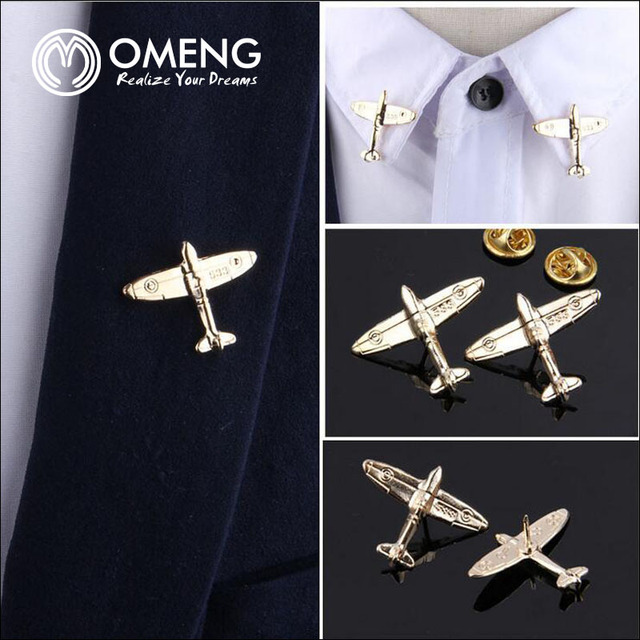 Omeng Aircraft Brooches Men Suit Brooch Man Lapel Pins Wedding Pin Badge Collar S