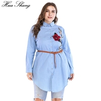 4XL 5XL 6XL Plus Size Women Shirts 2018 Spring Autumn Long Sleeve Shirt Blue Embroidery Floral Belted Irrgular Long Blouse Tops