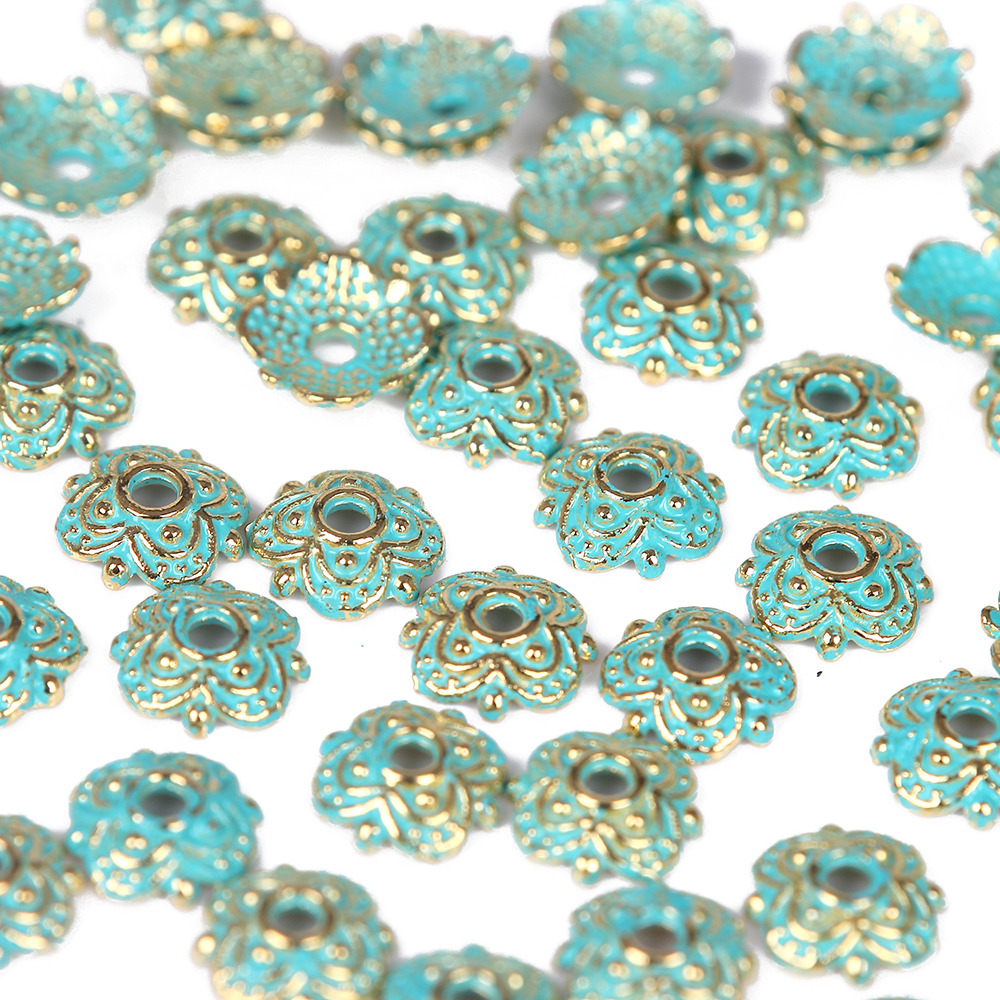 Wholesale 10//20Pcs Bronze Plated(Lead-Free)Flower Flat oval Hollow Spacer Beads