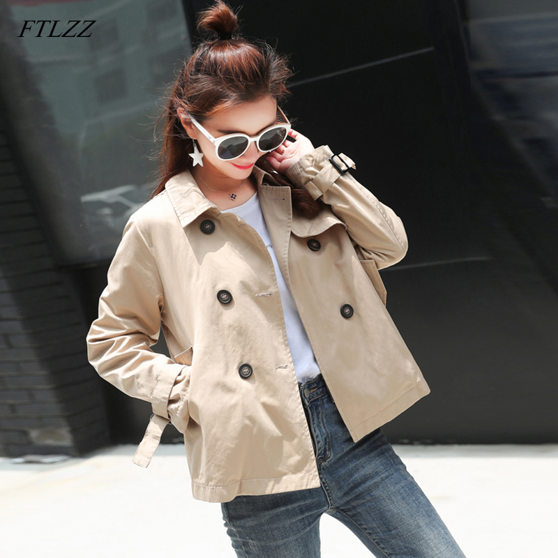 FTLZZ 2020 Women Trench Coat Spring Autumn Coats Loose Casual Turn-down Collar Double Breasted Female Short Outerwear