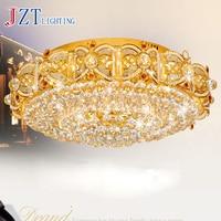 T LED Luxury Circular Crystal Ceiling Light E14 Bulbs Golden Lighting For Hotel Project Living Room