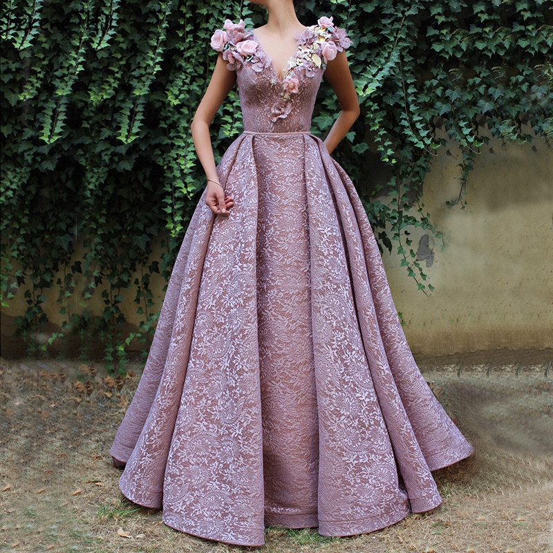 Purple V-Neck Handmade Flowers Lace Evening Dresses 2019 Sleeveless Mermaid Sexy Evening Gowns Serene Hill LA60764