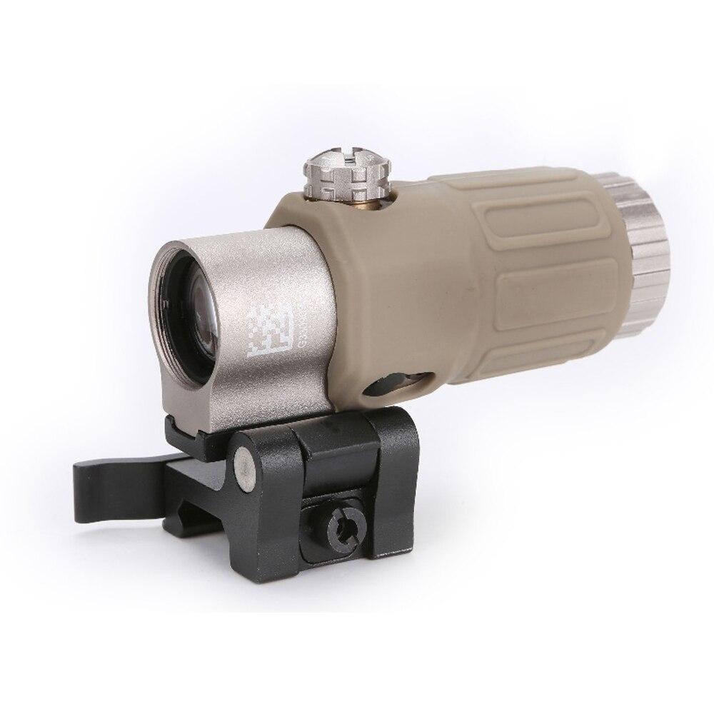 La espina óptica Airsoft 3X lupa con interruptor a lado STS desmontable rápido/QD de montaje (negro/Arena)