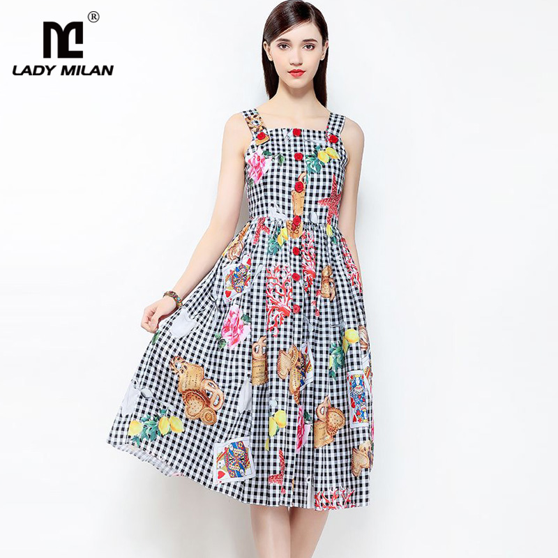 New Arrival 2018 Womens Spaghetti Straps Characters Printed Plaid High Street Holiday Casual Summer Dresses