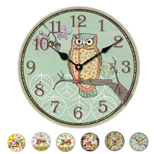New Arrival Modern Design Home Digital Round Wood Wall Clocks Owl Printing Living Room Quartz Watches