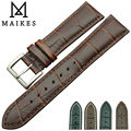 MAIKES Factory Direct Sale Genuine Leather Watch strap 18mm 20mm 22mm Stainless Steel Buckle Watch Band Men For Omega