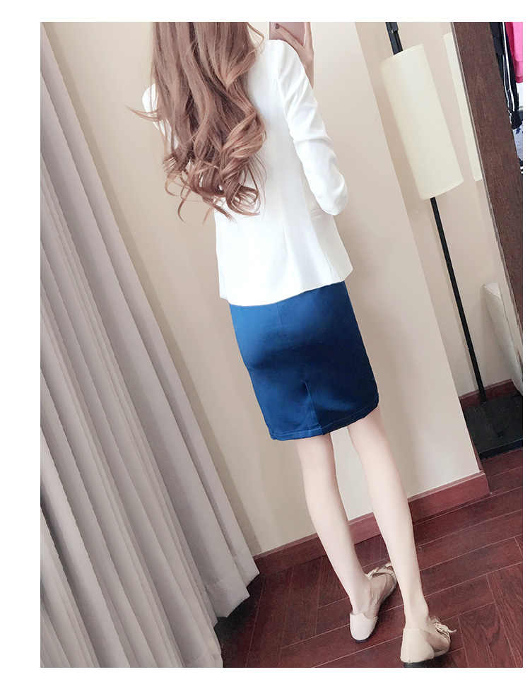 f050fb5ccd9a07 ... Royal Blue blazer women suit with white jackets two piece skirt suit ...