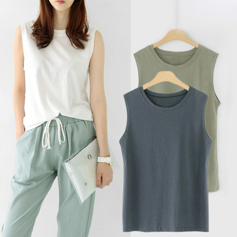new fashion women sleeveless t-shirt female girls loose 95% pure cotton solid color spring autumn o-neck vest   tank     tops   Camis
