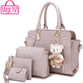 Magic fish! 2016 new women messenger bags women handbag Ladies Tote bags Crossbody Bag Wallet Purse 4 Set handbag LS8996mf