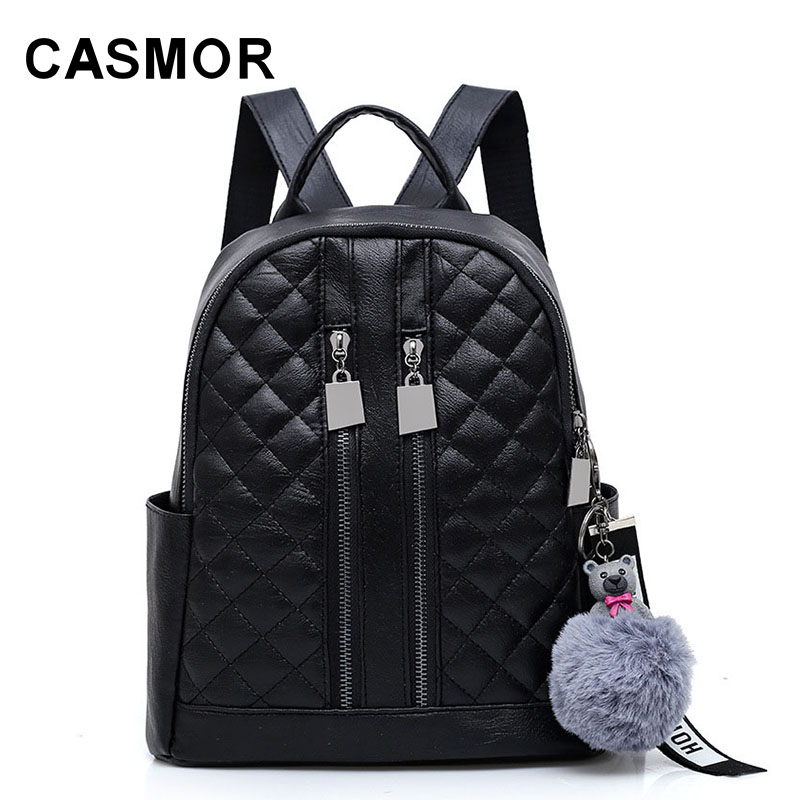 CASMOR Casual Women Fashion Pendant Backpack Solid Zipper College Style Girls School Bags For Teenage Adolescent Female mochilas