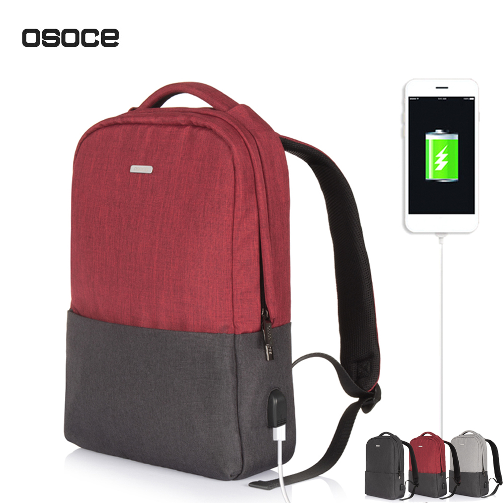 OSOCE 13 15 inch Computer Backpack Laptop Notebook School Travel Bag External USB Port Waterproof Man Busines Women Travel Bag