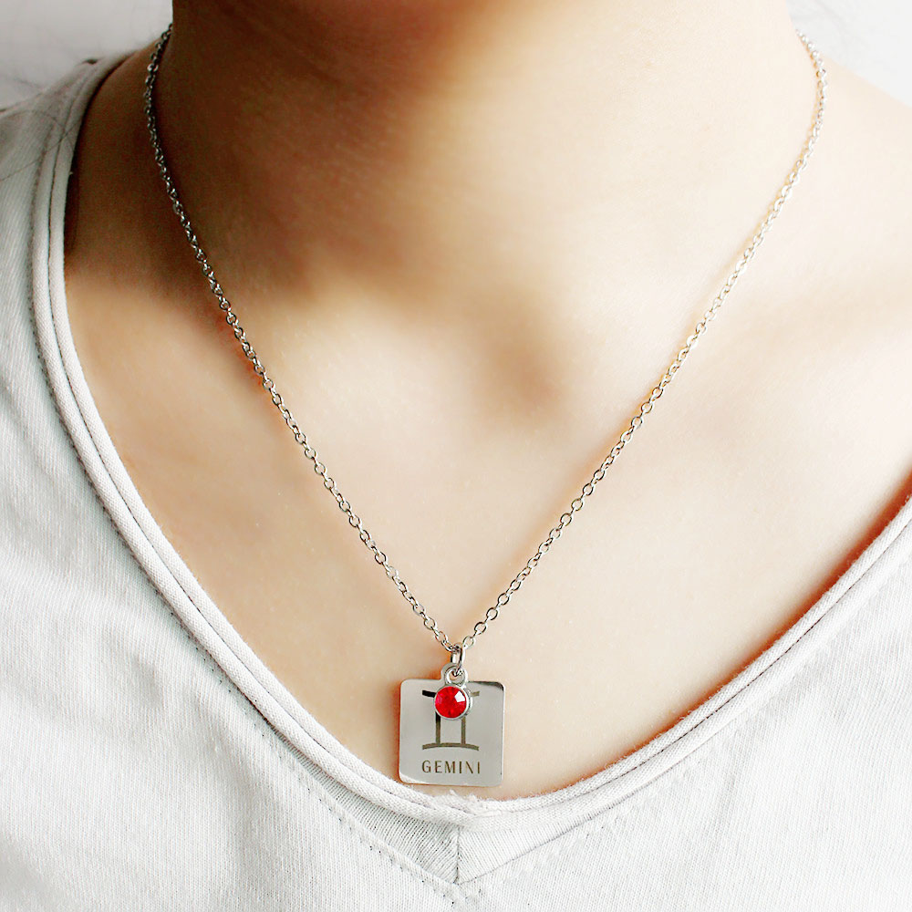12 знаков зодиака Созвездия кулон ожерелье хрусталь камень ожерелье женщины друг подарок на день рождения ювелирные изделия из нержавеющей стали