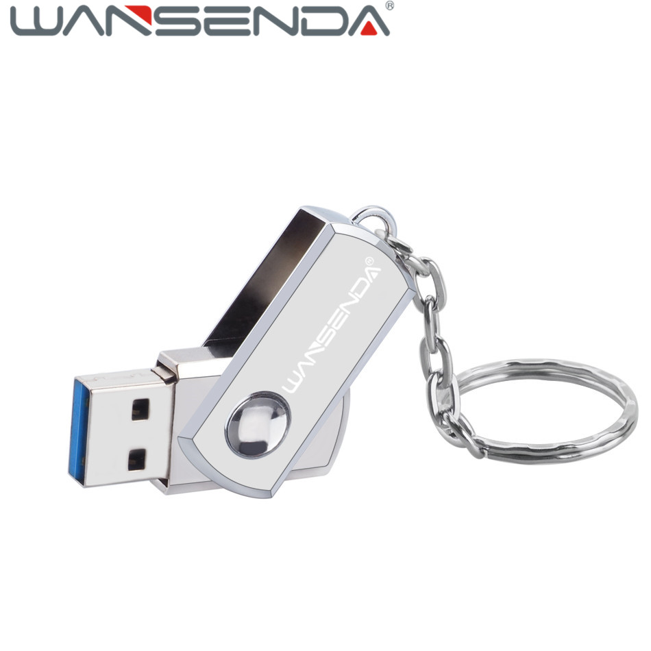 Real capacity WANSENDA Usb 3.0 USB Flash Drive metal pendrive 64G/32G/16G/8G/4G portable pen drive with key chain usb stick gift