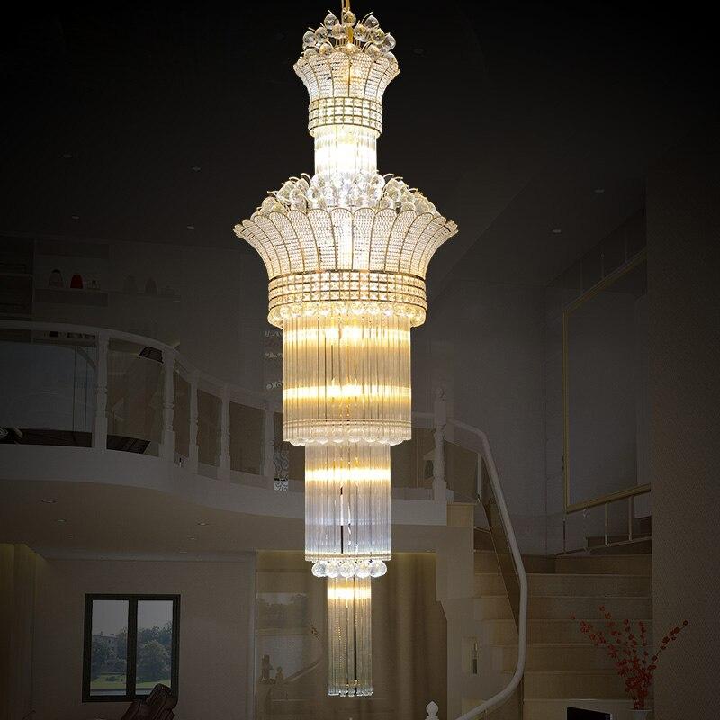 Moderne minimaliste S or pendentif Long creux escaliers penthouse étage salon lustre lampe villa projet lampes