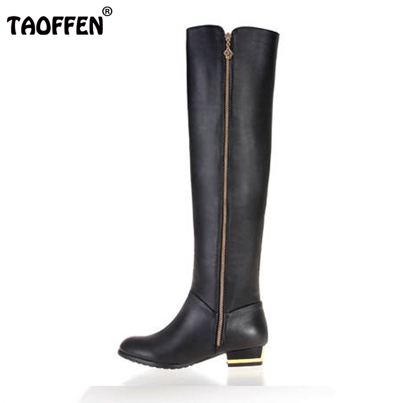 Size 30-45 Women Real Genuine Leather Flat Over Knee Boots Fashion Long Boot Winter Botas Feminina Brand Footwear Shoes R1537 купить дешево онлайн