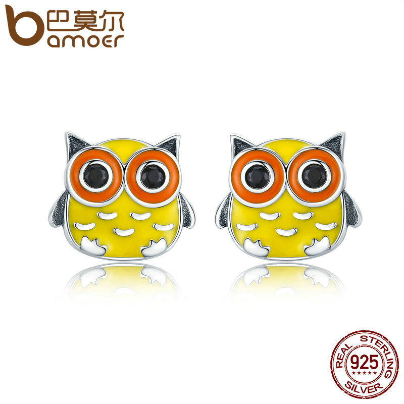 BAMOER Animal Collection 100% 925 Sterling Silver Cute Owl Animal Stud Earrings for Women Sterling Silver Jewelry Brincos SCE229