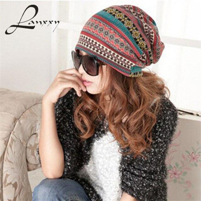 Lanxxy gorros de invierno para mujer sombreros de punto grueso sombrero  bufanda caliente sombrero de ala e74fceb1578