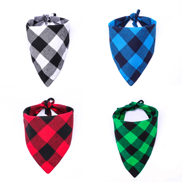 Grooming Accessories 100% Cotton Plaid Reversible Triangular Dog or Cat Scarf