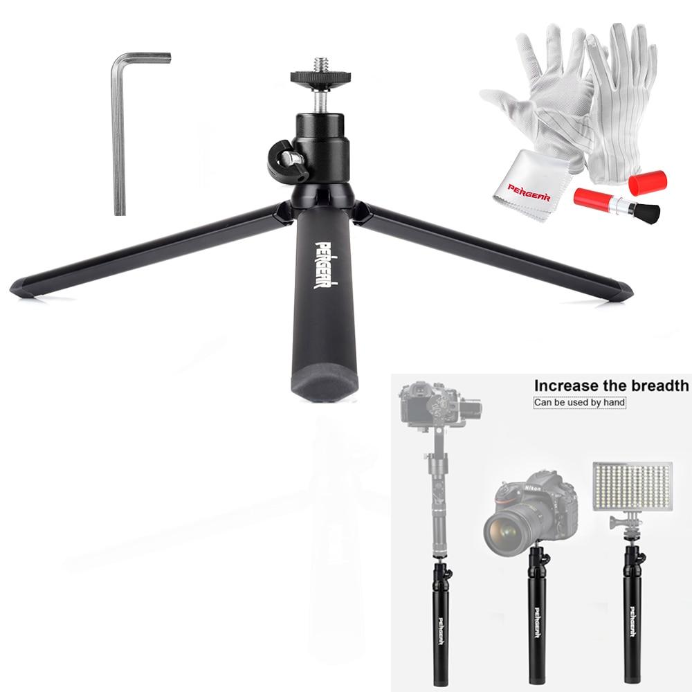 Pergear Aluminum Mini Table Tripod Leg for Cameras Zhiyun Smooth Q Crane Crane-M Light with Mini Ballhead with 1/4