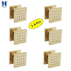 Hongdec 1-6 шт Ванная комната латунь площадь матовый золотой душ системы тела массаж спрей струи