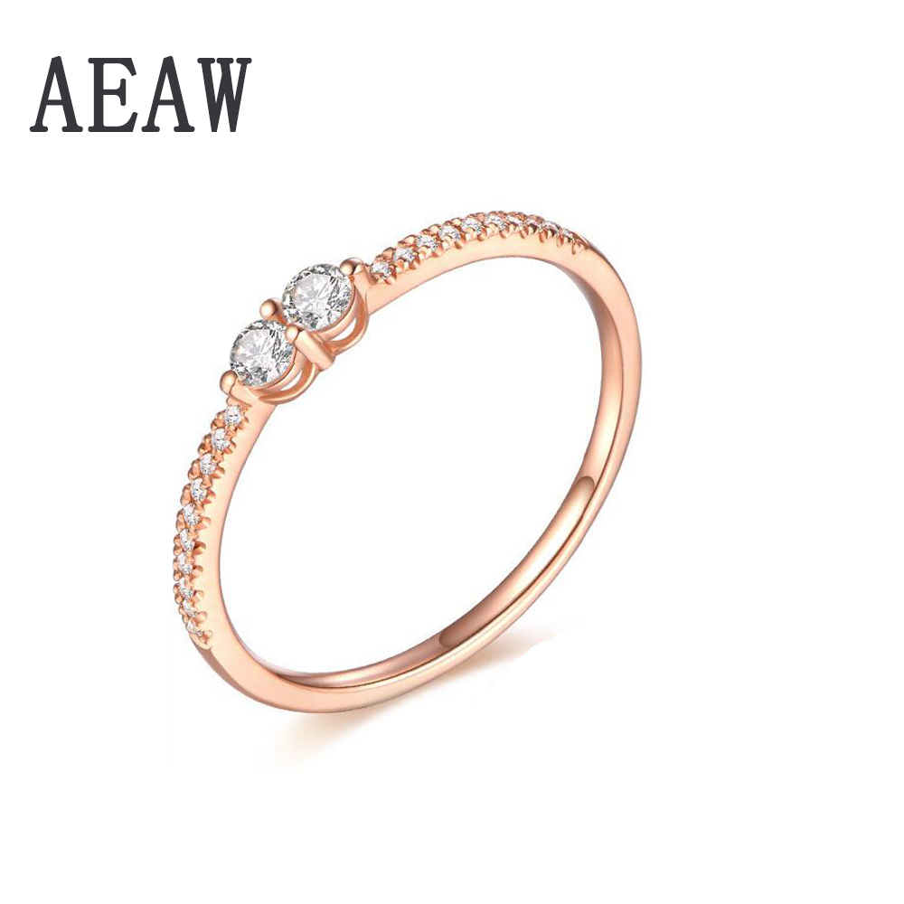 Solid 14K Rose Gold Round DF Moissanite Engagement Ring Band lab Diamond Solitaire Wedding for Women transgems 1 6 ctw carat lab grown moissanite diamond eternity band solid 14k yellow and white gold engagement anniversary ring