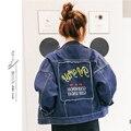 2016 moda lwtter impresión jeans chaquetas mujeres novio estilo de gran tamaño punky chaqueta denim capa vintage JN258