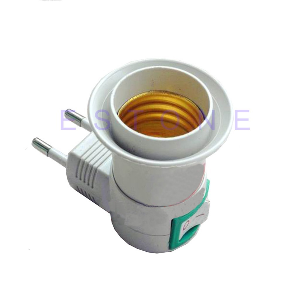Free Shipping E27 Female Socket To EU Plug Adapter With Power On Off Control Switch