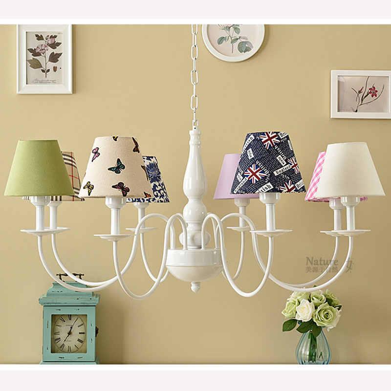 Lustre de 8 Braços lustres de sala de crianças cama Quente e romântico iluminação lustres para sala de jantar 90-260 V E27 suporte da lâmpada