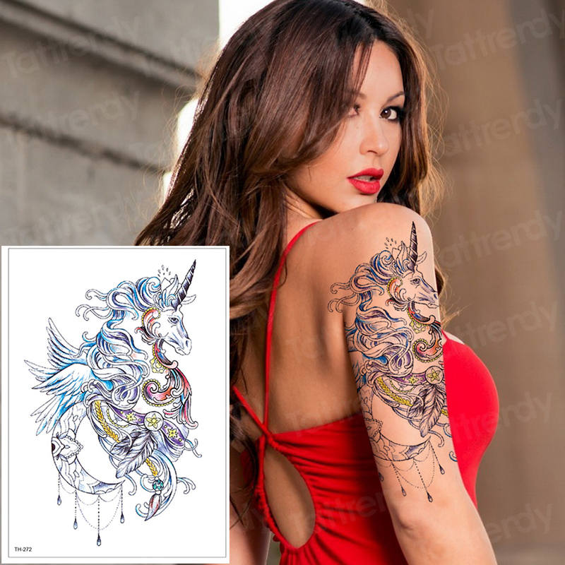 Temporary Tattoo Unicorn Horse Tattoo Waterproof Fake Tattoo Animals Elk Sticker Tattoo Watercolor Transfer Tatoo Girls Tatu Big