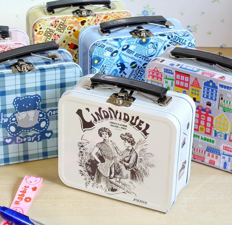 zakka vintag retro mini suitcase belt lock european square. Black Bedroom Furniture Sets. Home Design Ideas