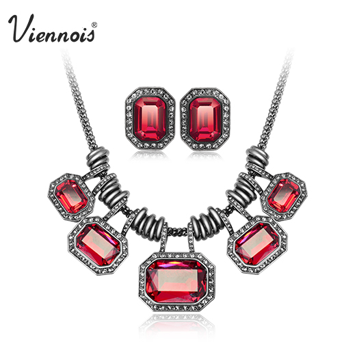 Viennois Silver Gun Plated Crystal Jewelry Set for Woman White Red Chain Necklaces & Stud Earrings Luxury Party Jewelry silver plated rhinestone geometric stud earrings set