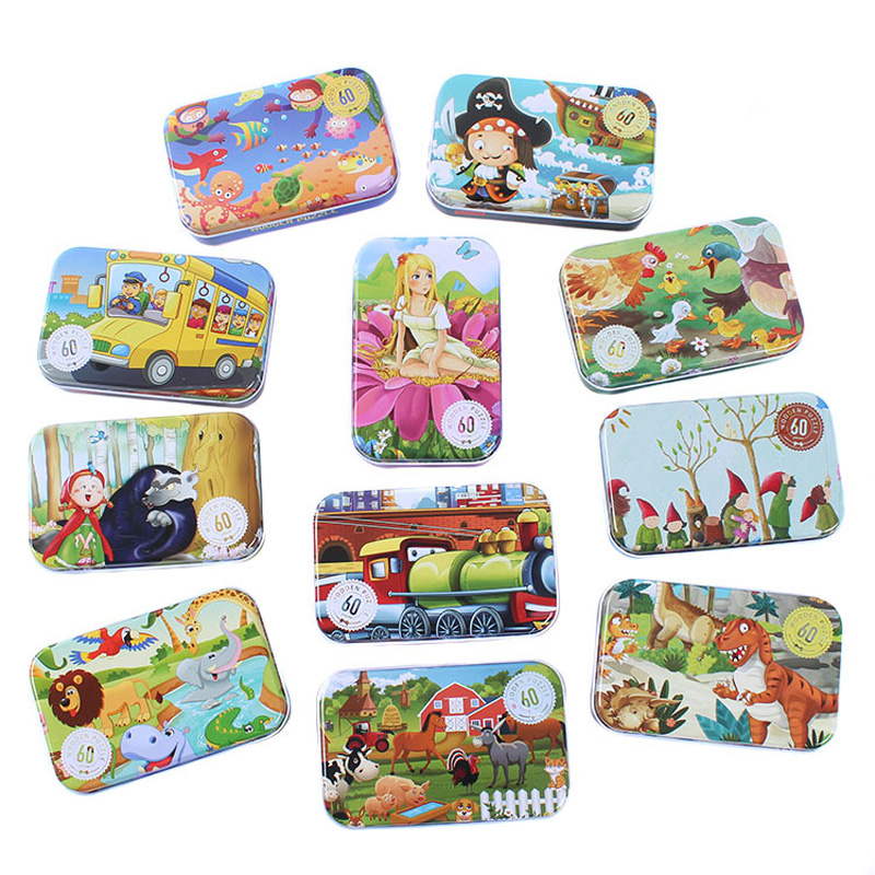60pcs/set Wooden Puzzle Cartoon Toy 3D Wood Puzzle Iron Box Package Jigsaw Puzzle for Child Educational Montessori Wooden Toys цена