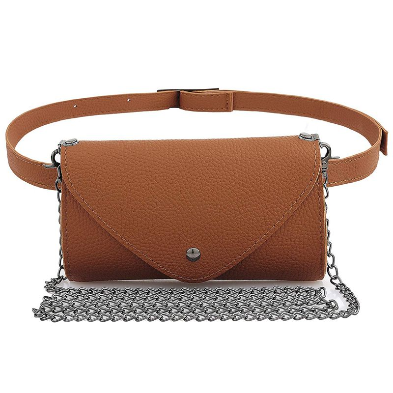 Women's Fashion Elegant Leather Brown Waist Fanny Belt Crossbody Pack Bags With Purse Pocket Stylish For Girls Women(Brown)