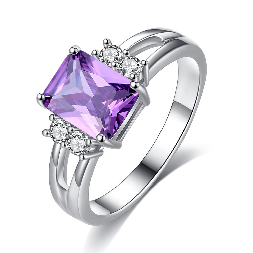 Purple Square Shape Zircon Ring For Woman Wedding jewelry Party Bijoux Anniversary romance Gift Engagment Fashion Silver Jewelry