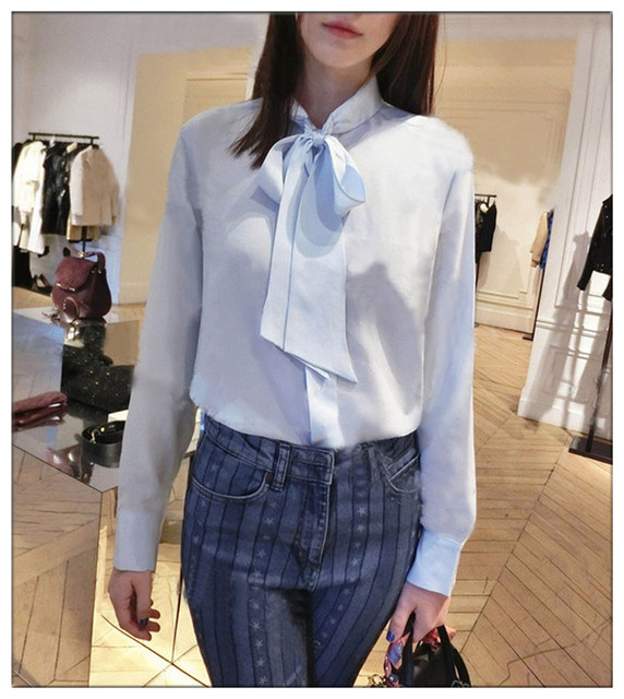 100% silk blouse shirt bow tie women chiffon blusas blue white 2017 spring new long sleeve runway blouse shirt high quality