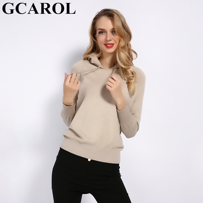 GCAROL New Women 30% Wool Hooded Sweater Fall Winter Knit Pullover  Casual Stretch Basic Render Knit Top Knitwear S-2XL