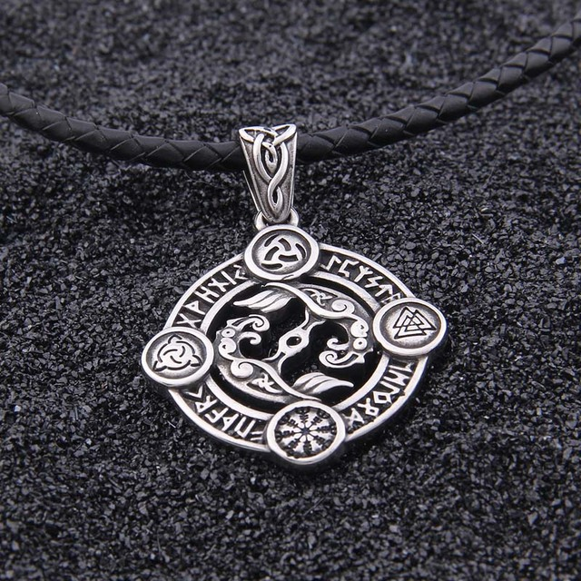 STAINLESS STEEL VIKING 24 RUNE RAVEN NECKLACE