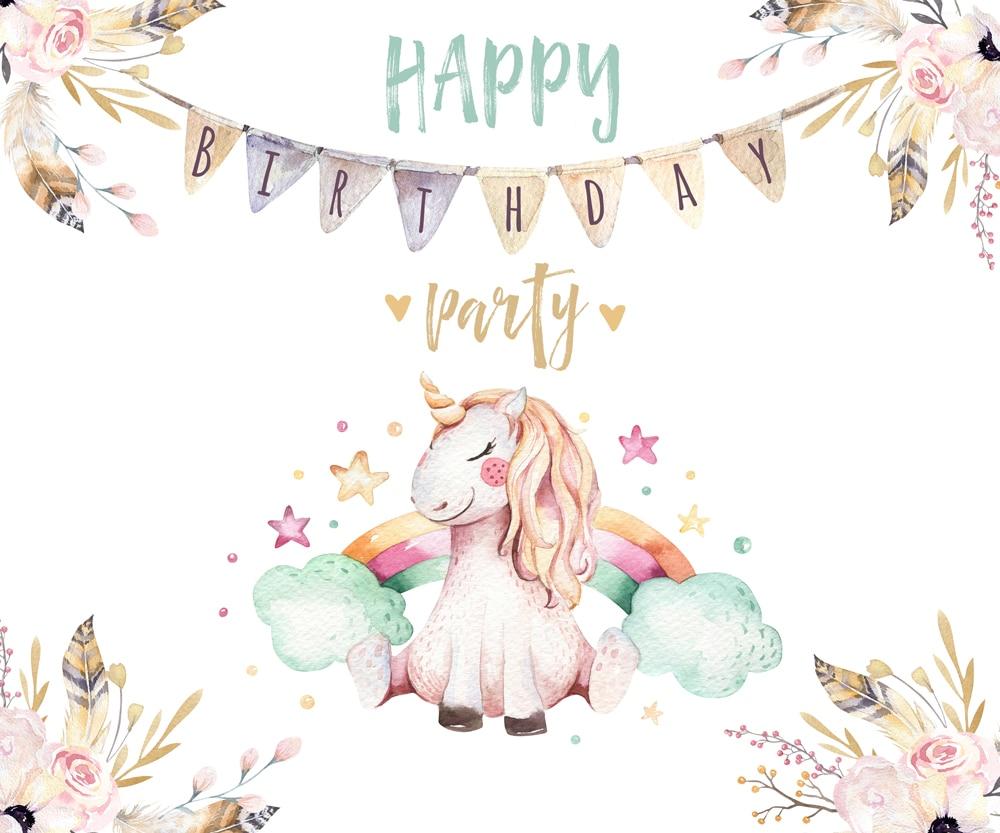 Cartoon Unicorn Happy Birthday Photography Backdrops Photo