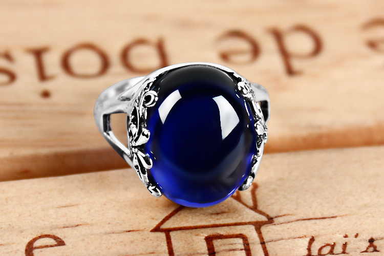 Thai silver yellow agate chalcedony ring female palace retro fashion silver jewelry blue corundum rings thai silver inlaid garnet ring finger female retro chalcedony green agate jewelry ruby ring opening