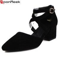 MoonMeek 2017 New Arrive Women Pumps Fashion Buckle Pointed Toe Flock Summer High Heels Shoes Elegant