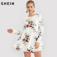 SHEIN Flower Print Smock Dress White Long Sleeve Skater A Line Casual Dress Fall Dresses 2017 Floral Mini Dress