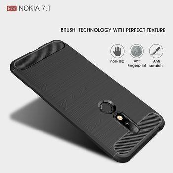 Fibra de carbono para Nokia 7,1 funda protectora para Nokia 7 Plus cubierta de lujo suave TPU Shell para Nokia 7 caso de lujo
