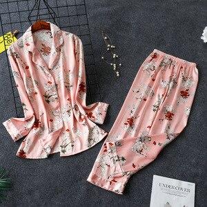 Image 2 - Daeyard Bộ Đồ Ngủ Nữ Cao Cấp Họa Tiết Áo Sơ Mi Và Quần 2 Chiếc Pyjama Set Lụa Pijama Ngủ Mùa Xuân Váy Ngủ Nhà Quần Áo